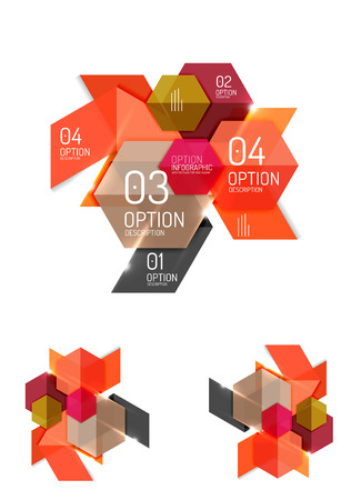 Set of abstract geometric paper graphic layouts. Business presentations, backgrounds, option infographics or banner templates
