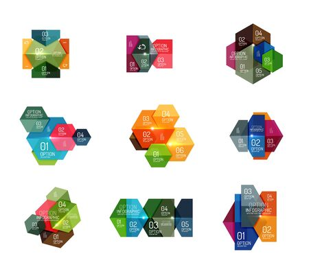 dna graph: Paper geometric abstract infographic layouts. Vector business templates