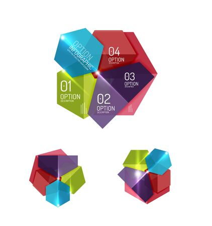 Abstract paper geometric infographic templates for business background, presentation or message with options and buttons