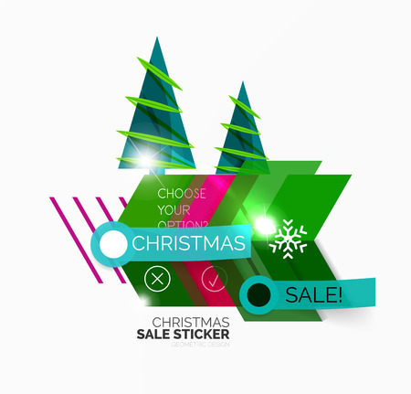 Vector Geometric Christmas Sale Stickers - shiny paper style elements with holiday concepts - Snowflake and New Year Tree Illustration