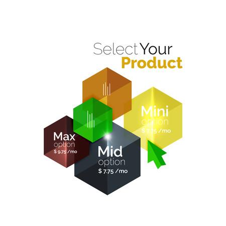 listing: Select product template. Vector background for business brochure or flyer, presentation and web design navigation layout Illustration