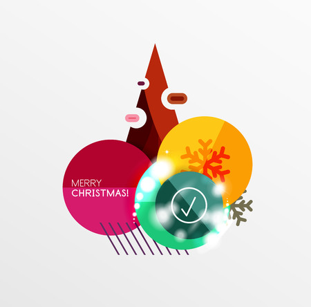 Christmas sale stickers with sample promo text on geometric shapes - circles