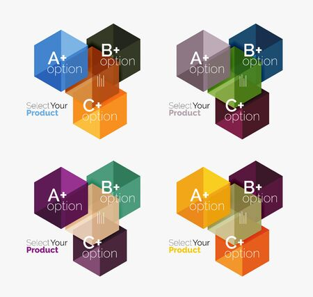 Set of abstract option navigation templates. Elements of business brochure, flyer or web design navigation layouts