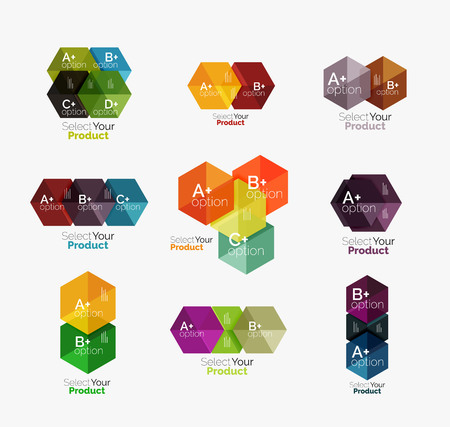Set of abstract geometric hexagon design with options and text. Vector templates