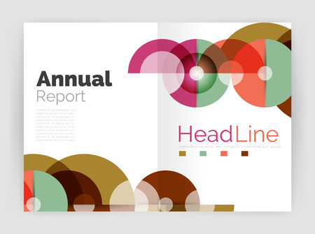 personal ornaments: Transparent circle composition on business annual report flyer. Vector illustration Illustration