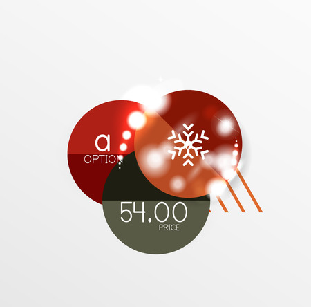 Christmas or New Year promo labels and stickers. Circle geometric diagrams with sample text