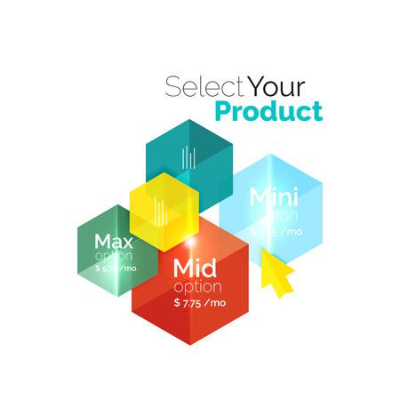 Option select template. Vector background for business brochure or flyer, presentation and web design navigation layout Illustration