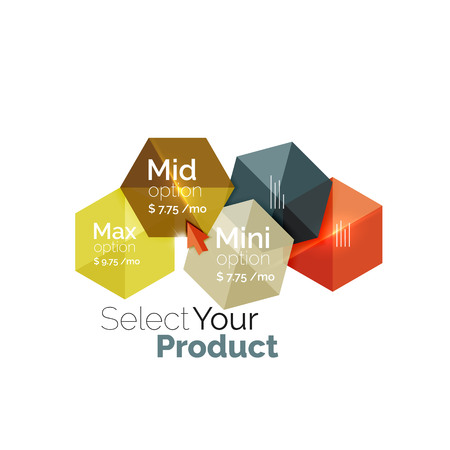 pricing: Option select template. Vector background for business brochure or flyer, presentation and web design navigation layout Illustration