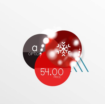 trendy tissue: Vector Christmas label or price tag stickers with light effects
