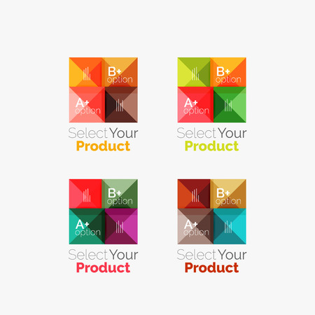 navigation buttons: Set of abstract square interface menu navigation buttons with sample infographic content