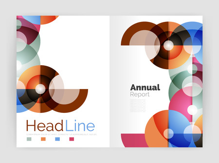 personal organiser: Transparent circle composition on business annual report flyer. Vector illustration Illustration