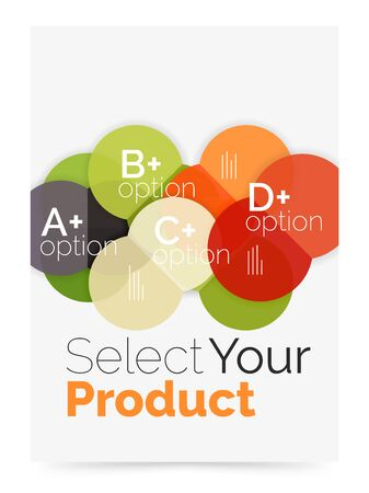 Business flyer circle abstract background with options, select your product concept