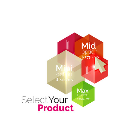 pricing: Select product template. Vector background for business brochure or flyer, presentation and web design navigation layout Illustration