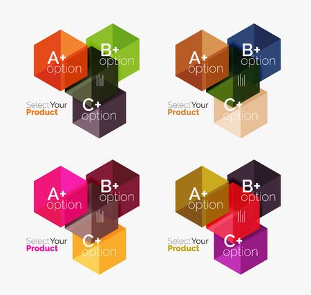 diagrama de flujo: Conjunto de plantillas de infografía con texto y opciones. Elementos del folleto de negocios, presentación y diseño de navegación de diseño web Vectores