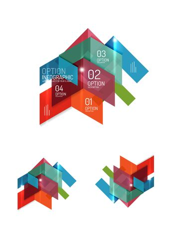 Paper infographic elements for business background, presentation or message with options and buttons Illustration