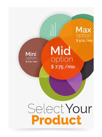 Transparent paper circles with option text. Vector business flyer design