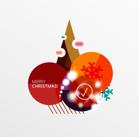 efectos especiales: Round Christmas sale stickers with winter holiday elements and light effects. Vector geometric price promo labels Vectores