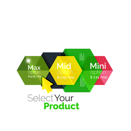 Select product template. Vector background for business brochure or flyer, presentation and web design navigation layout Illustration
