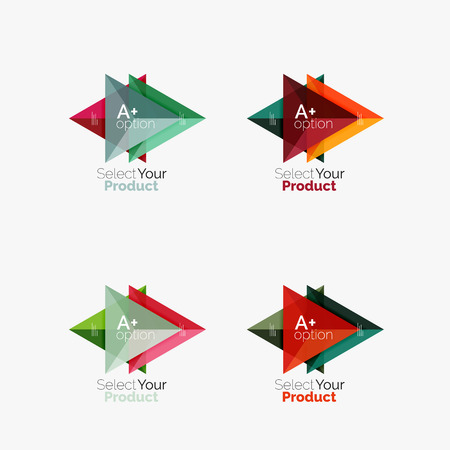 www: Set of triangle layouts with text and options. Elements of business brochure, infographic presentation background and web design navigation template. Select your product concept, make a choice idea