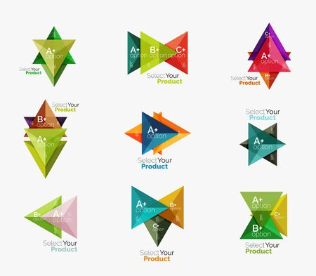 Set of triangle geometric business infographic templates. Elements of business brochure, info presentation background and web design navigation. Select your product concept, make a choice idea
