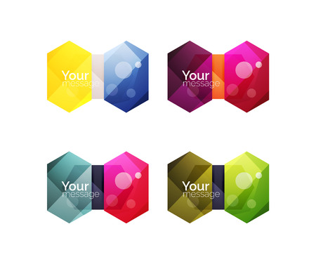 Vector shiny blank web option boxes. Geometric elements suitable for text, infographics or navigation UI menu