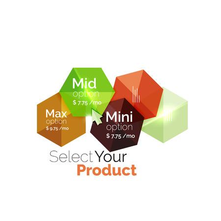 Select product template. Vector background for business brochure or flyer, presentation and web design navigation layout Illustration