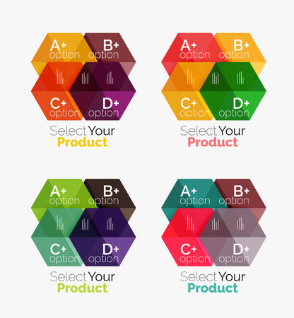dna graph: Vector set of geometric paper business infographics layouts
