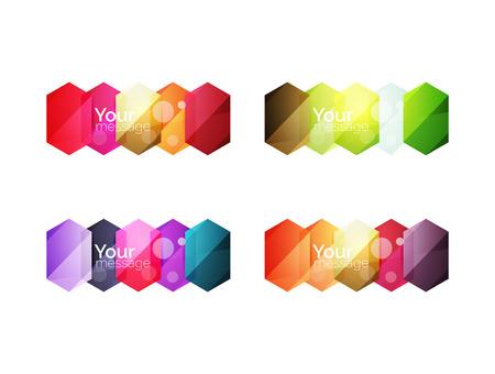 solid figure: Set di vettore caselle vuote lucidi per il contenuto. elementi geometrici astratti adatti per il testo o infografica