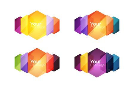 Set of vector shiny blank boxes for your content. Abstract geometric elements suitable for text or infographics Illustration