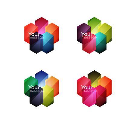 적합: Vector shiny blank web option boxes. Geometric elements suitable for text, infographics or navigation UI menu