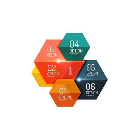 Vector hexagone infographic diagram templates Illustration