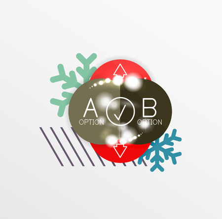 Round Christmas sale stickers with winter holiday elements and light effects. Vector geometric price promo labels Illustration