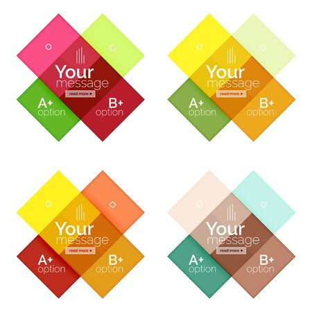 Vector color stripes infographics templates with sample option text, isolated on white. Geometric business abstract layouts for your message or figure presentation Illustration