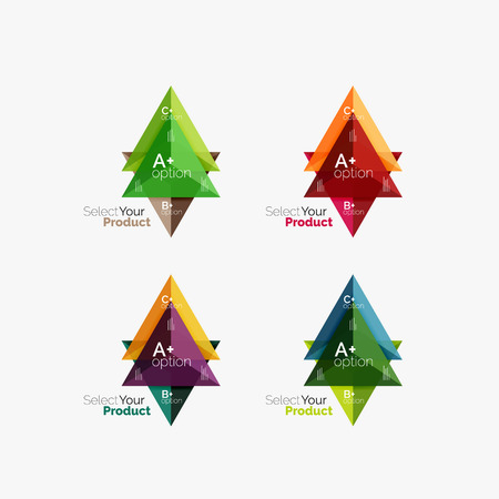 Set of triangle layouts with text and options. Elements of business brochure, infographic presentation background and web design navigation template. Select your product concept, make a choice idea