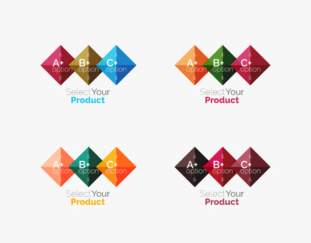 Set of vector square abstract backgrounds or infographics for your content Illustration