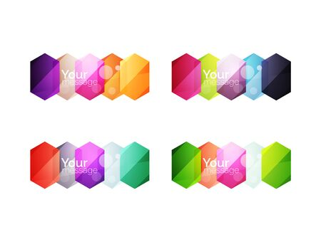 Set of vector shiny blank boxes for your content. Abstract geometric elements suitable for text or infographics 일러스트