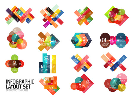 Set of vector buiness infographics templates for workflow layouts, diagrams, number options or web design Illustration