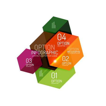 Business option diagram templates - geometric shapes with options elements for business background, numbered banners, graphic website Illustration