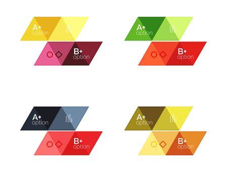 Vector set of colorful geometric infographics for workflow layout, diagram, number options or navigation web design Illustration