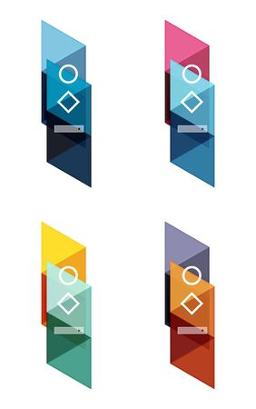 pillar box: Vector set of blank geometric infographic web boxes created with triangles. Backgrounds for workflow layout, diagram, number options or web design Illustration