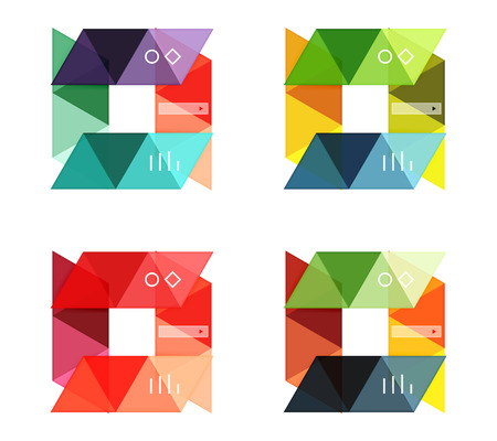 Vector set of blank geometric infographic web boxes created with triangles. Backgrounds for workflow layout, diagram, number options or web design Vectores