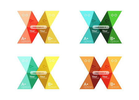 Vector arrow option infographic templates set. Backgrounds for workflow layout, diagram, number options or web design Illustration