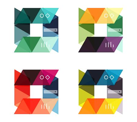 Vector set of blank geometric infographic web boxes created with triangles. Backgrounds for workflow layout, diagram, number options or web design 일러스트