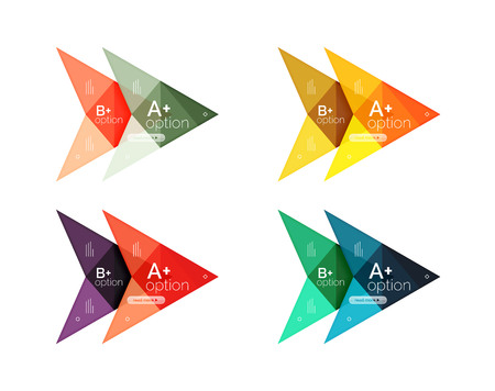 Colorful arrow option infographics banners, business geometric universal templates. Backgrounds for workflow layout, diagram, number options or web design Illustration