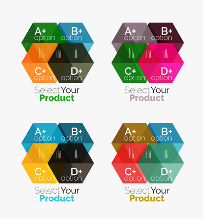 schedule system: Set of business hexagon layouts with text and options. Design elements of web design navigation layout, infographics or corporate presentation