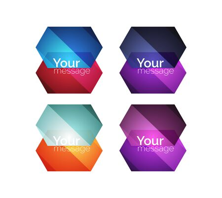 solid: Set of vector shiny blank boxes for your content. Abstract geometric elements suitable for text or infographics Illustration