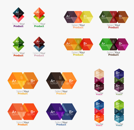 Collection of geometric paper infographic templates. Business abstract backgrounds for workflow layout, diagram, number options or web design