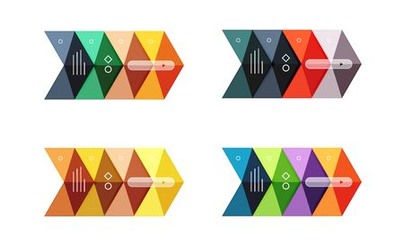 Vector arrow infographics business templates set. Backgrounds for workflow layout, diagram, number options or web design Illustration