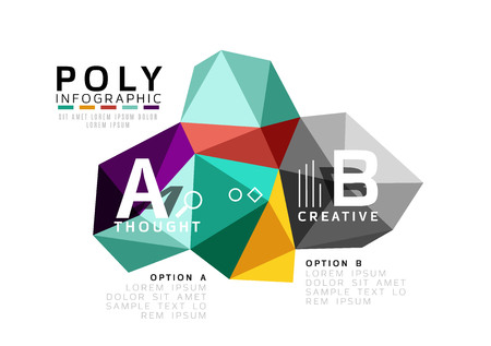 Moden low poly infographics template with A B C letters Illustration