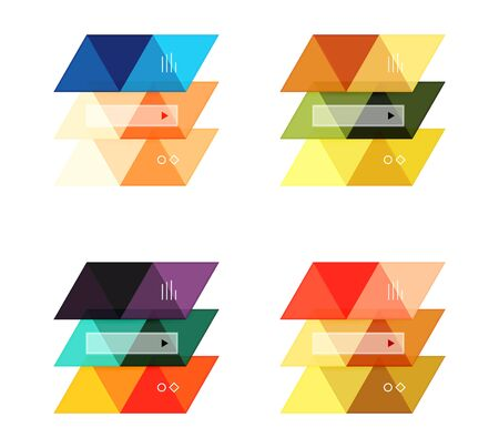 Vector set of blank geometric infographic web boxes created with triangles. Backgrounds for workflow layout, diagram, number options or web design Illustration